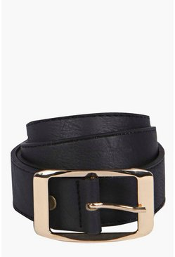 Womens Black Chunky Boyfriend Belt