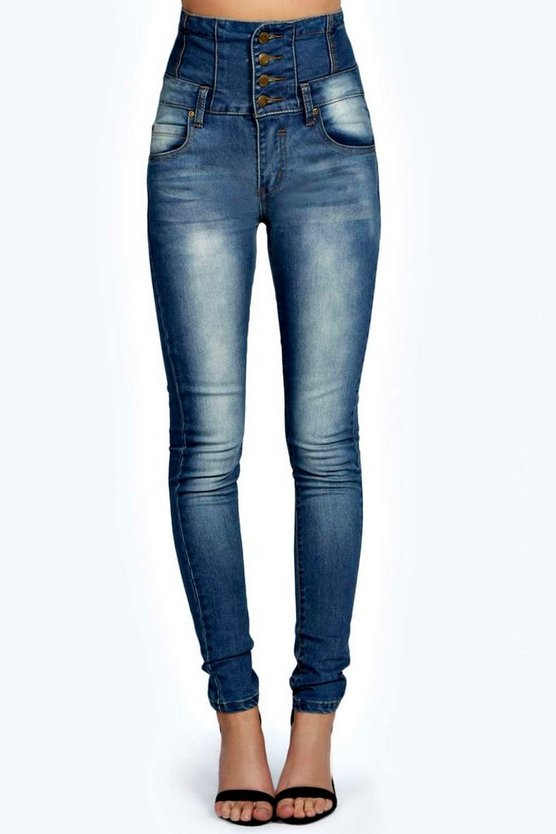 Sandy Superenge Taillenjeans in Mittelblau