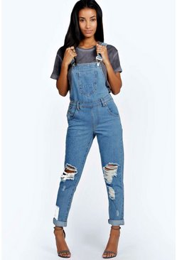 Womens Indigo Stone Wash Denim Dungaree