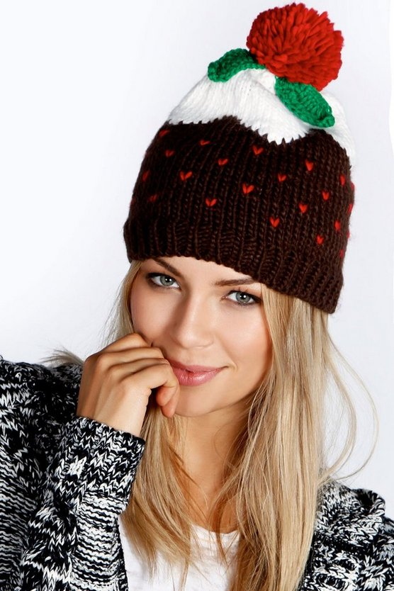 Womens Brown Holly Christmas Pudding Beanie Hat