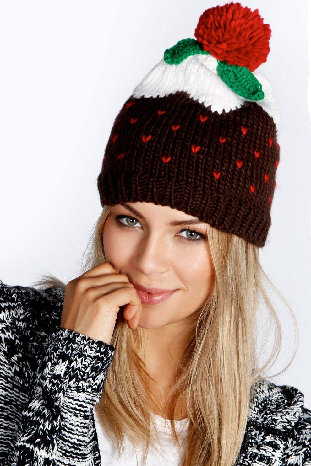 ce5cd34e9a264 Holly Christmas Pudding Beanie Hat | Boohoo
