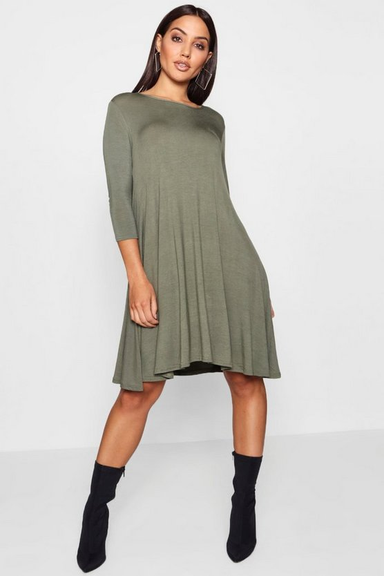 Womens 3/4 Sleeve Swing Dress