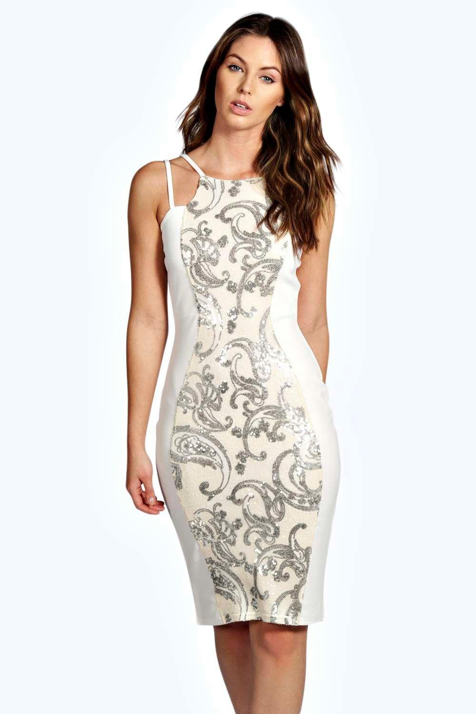 fa7fcdd5 ... Sequin Panel Midi Dress. Hover to zoom