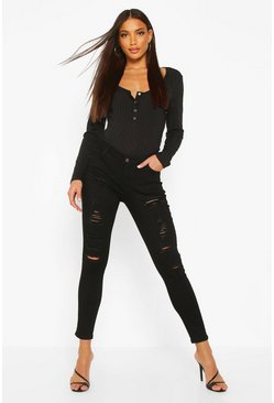 Womens Black Low Rise Heavy Ripped Skinny Jeans