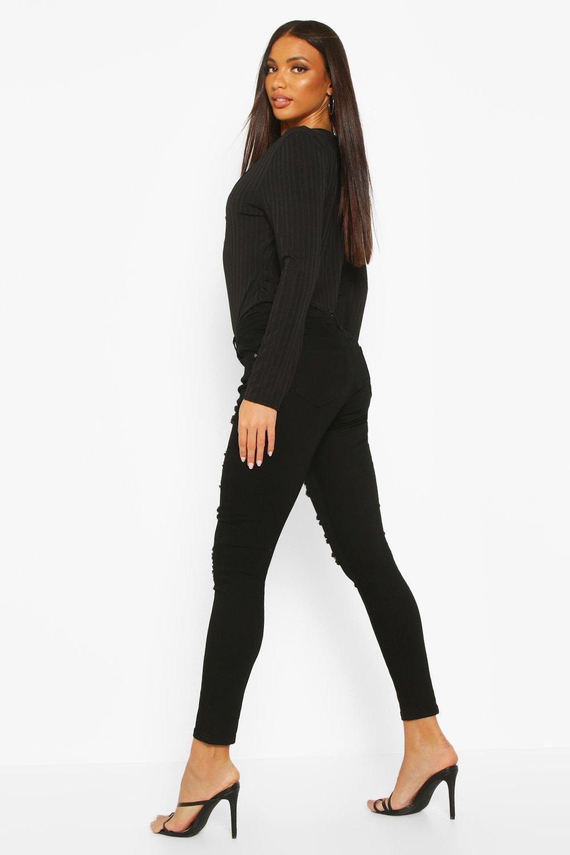 muy rasgados alto negro Jeans talle skinny con O6E55UxWwq