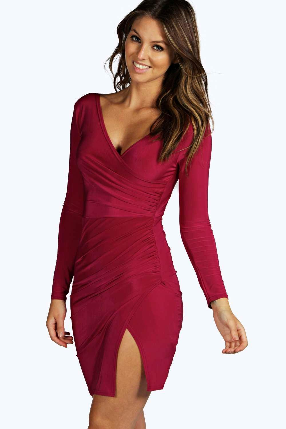 e86445f7470 Womens Magenta Louise Slinky Wrap Dress. Hover to zoom