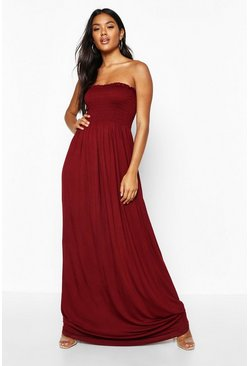 Womens Berry Shirred Bandeau Maxi Dress