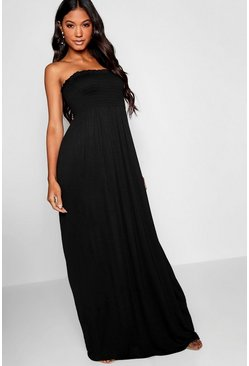Womens Black Shirred Bandeau Maxi Dress