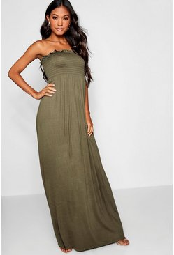 Womens Khaki Shirred Bandeau Maxi Dress