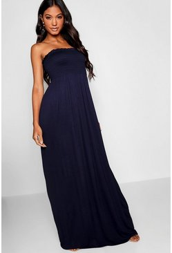 Navy Shirred Bandeau Maxi Dress