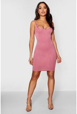 Womens Rose Strappy Front Bodycon Dress