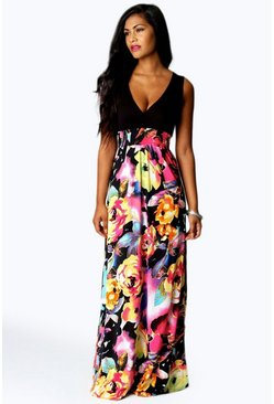 Womens Black Petite Kiera Rose Print Maxi Dress