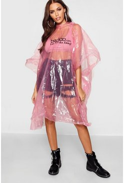 Womens Pink Disposable Showerproof Festival Poncho Non Refundable