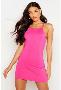Womens Hot pink 90s Neck Mini Bodycon Dress