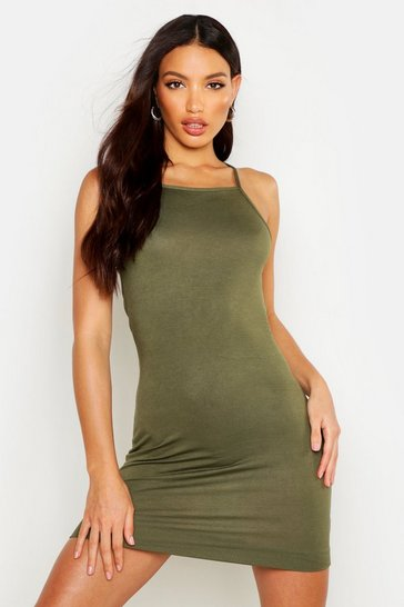 Womens Khaki 90s Neck Mini Bodycon Dress