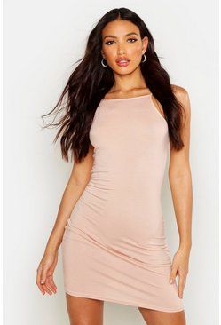 Womens Nude 90s Neck Mini Bodycon Dress