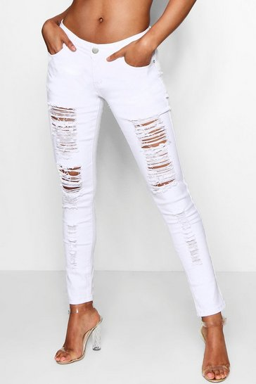 Womens Mid Rise White Ripped Jeans