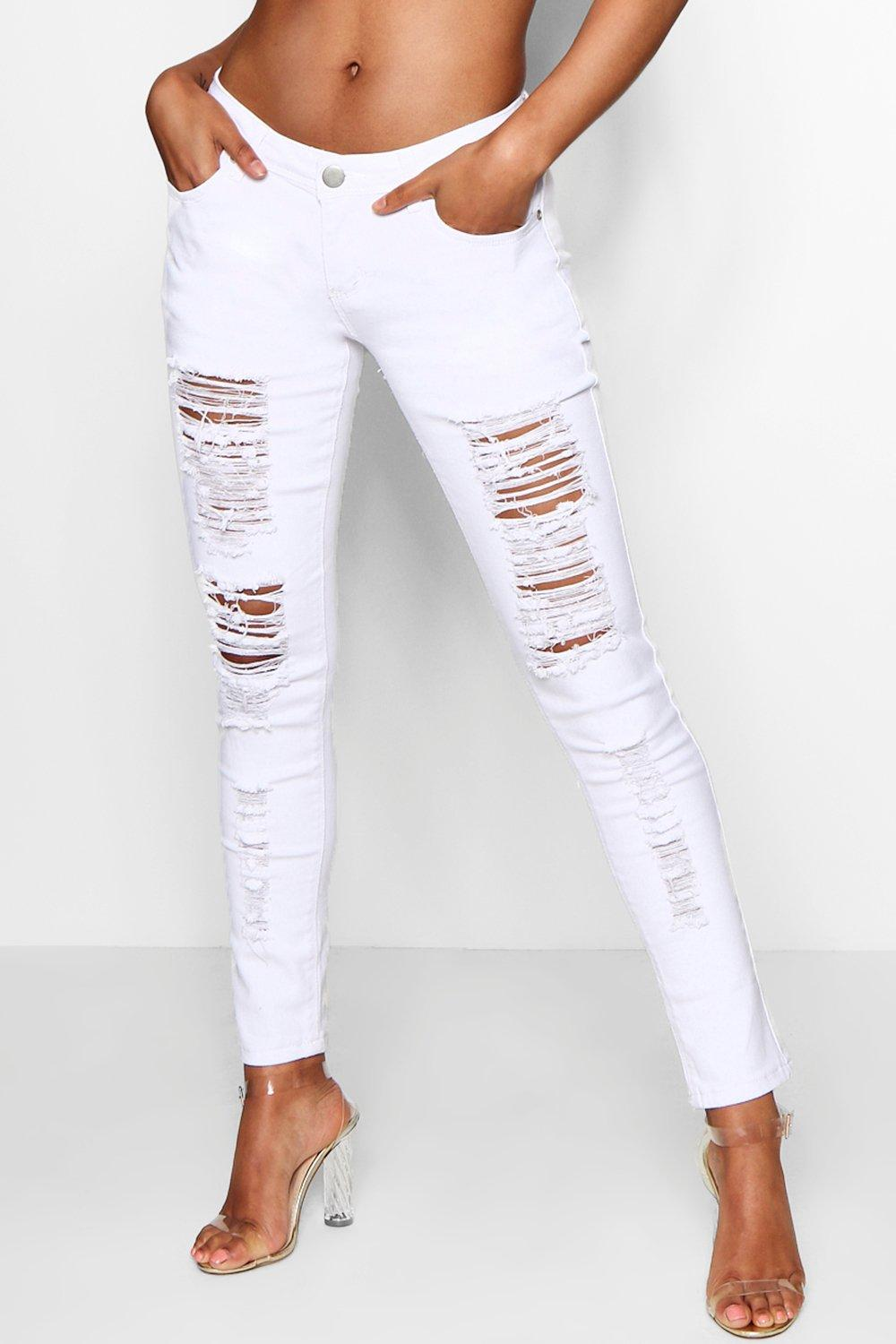 price many choices of attractive colour Mid Rise White Ripped Jeans | Boohoo