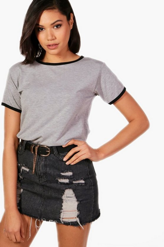 Womens Grey marl Ringer T-Shirt