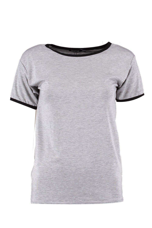 puños marga y en contraste Camiseta con cuello gris AqH4Pt