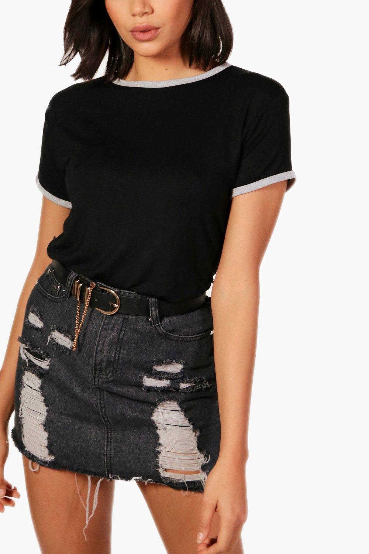 Camiseta cuello con contraste en marga y gris puños ppHqw