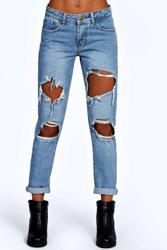 Cloudy Wash Ripped Boyfriend Jeans