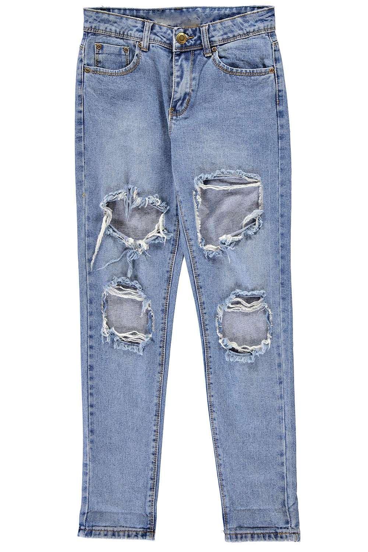 con Jeans lavado estilo Azul desigual boyfriend rasgados qPTaBP