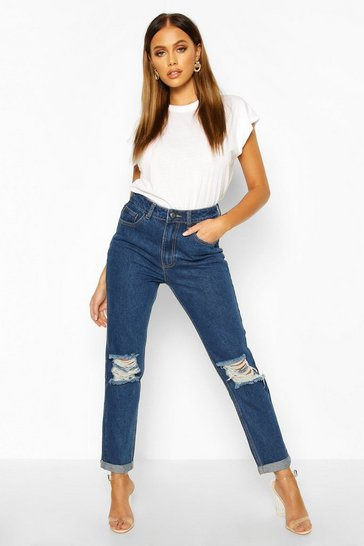 Dark wash Mid Rise Light Blue Open Knee Boyfriend Jeans