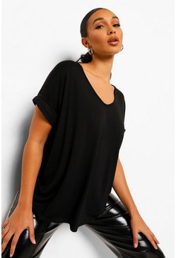 Womens Black Oversized Boyfriend V Neck T-Shirt