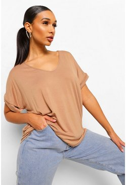 Camel Oversized Boyfriend V Neck T-Shirt