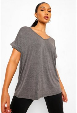 Womens Charcoal Oversized Boyfriend V Neck T-Shirt