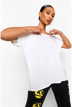 Womens Cream Oversized Boyfriend V Neck T-Shirt