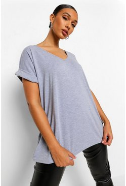 Grey marl Oversized Boyfriend V Neck T-Shirt