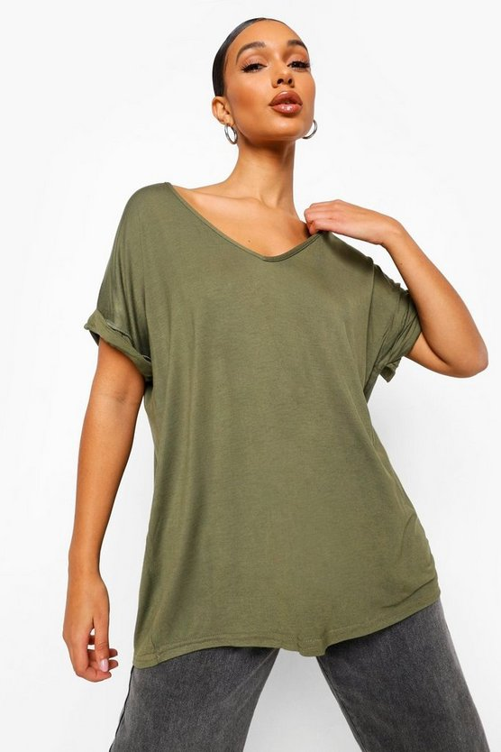 Womens Khaki Oversized Boyfriend V Neck T-Shirt