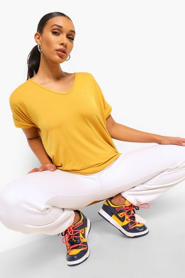 Mustard Oversized Boyfriend V Neck T-Shirt
