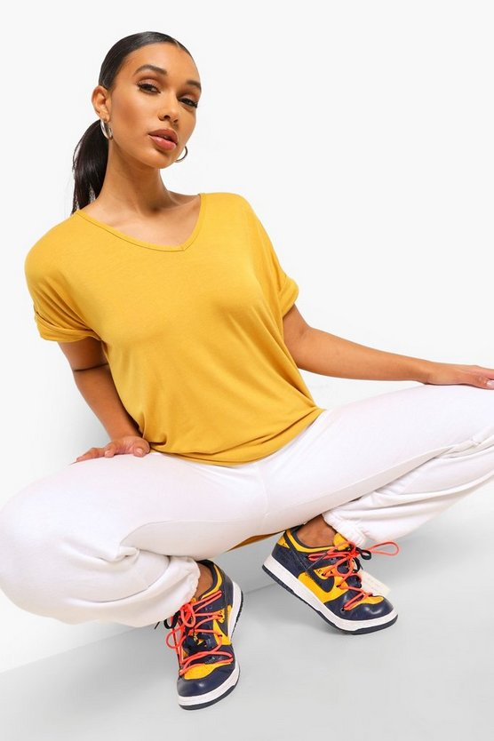 Womens Mustard Oversized Boyfriend V Neck T-Shirt