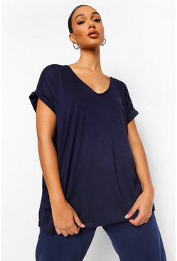 Navy Oversized Boyfriend V Neck T-Shirt