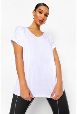 Womens White Oversized Boyfriend V Neck T-Shirt