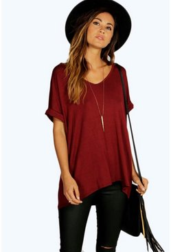 Womens Wine Oversized Boyfriend V Neck T-Shirt