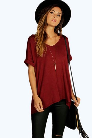 Wine Oversized Boyfriend V Neck T-Shirt
