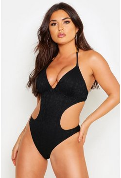 Womens Black Crochet Cut Out Moulded Cup Swimsuit