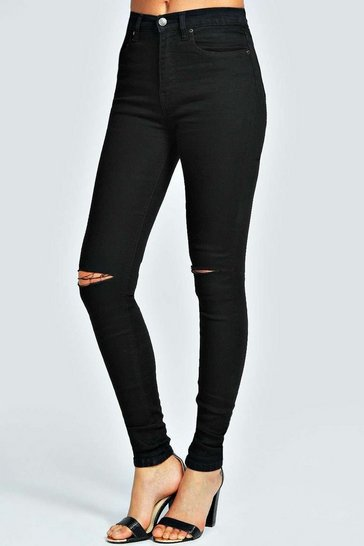 Womens Mid Rise Black Pocket Full Length Jeans