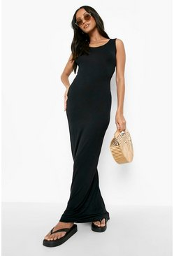 Womens Black Petite Sandy Scoop Neck Maxi Dress