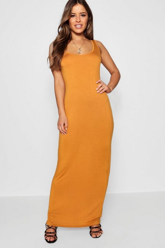 Womens Desert sand Petite Sandy Scoop Neck Maxi Dress