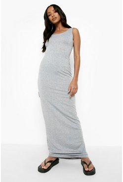 Womens Grey marl Petite Sandy Scoop Neck Maxi Dress