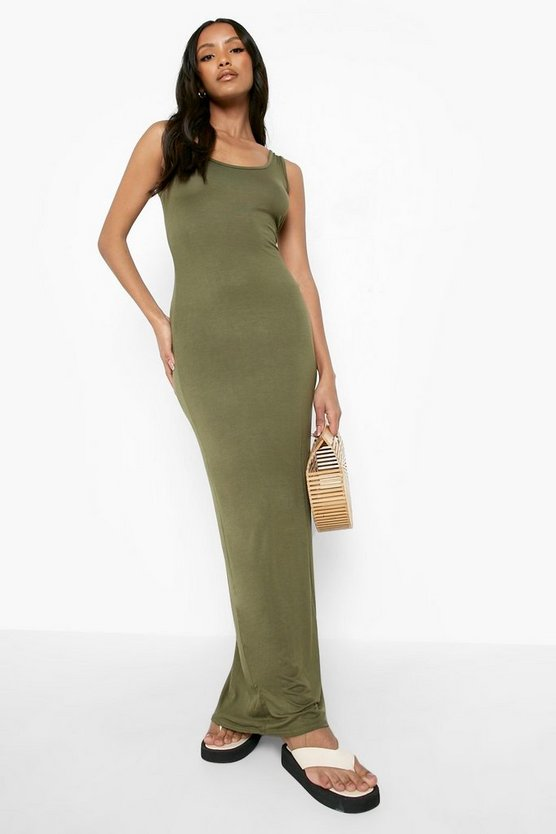 Womens Khaki Petite Sandy Scoop Neck Maxi Dress