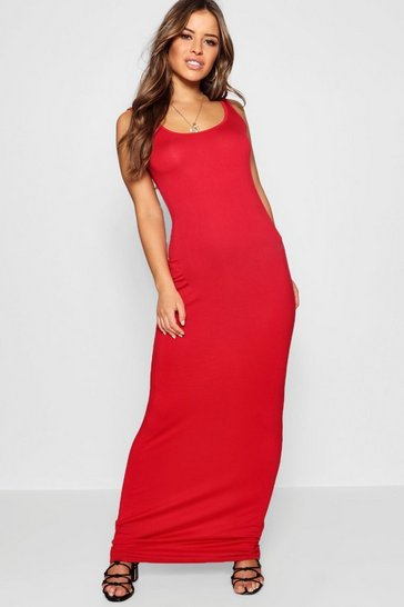 Womens Red Petite Sandy Scoop Neck Maxi Dress