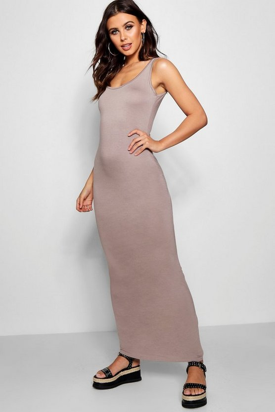 Womens Stone Petite Sandy Scoop Neck Maxi Dress