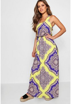 Womens Multi Petite Neon Paisley Maxi Dress
