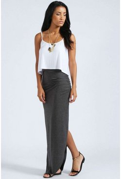 Womens Charcoal Petite Michelle Viscose Maxi Skirt